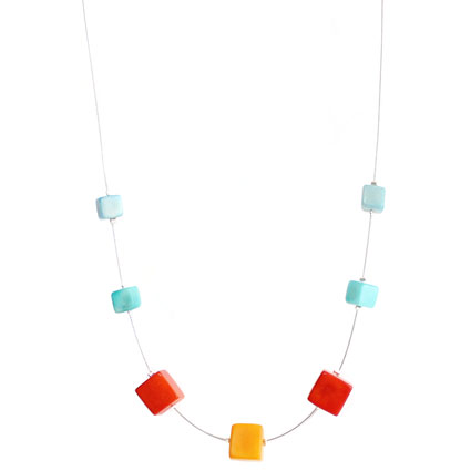 Cubes Tagua Necklace in Blue, Orange and Yellow, Handmade