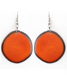 Chips Tagua earrings in Orange