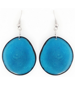 Chips Tagua earrings in Blue