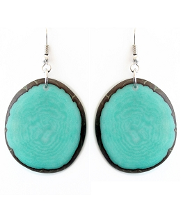 Chips Tagua earrings in Aquamarine