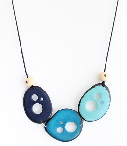 Flakes Tagua Necklace in Blues, Handmade, Adjustable