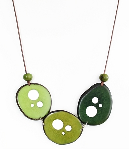 Flakes Tagua Necklace in Greens, Handmade, Adjustable