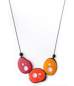 Flakes Tagua Necklace in Red, Orange and Yellow, Handmade, Adjustable