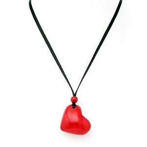 Heart Tagua Pendant in red, Handmade, Adjustable