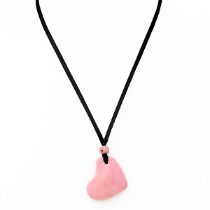 Heart Tagua Pendant in Pink, Handmade, Adjustable