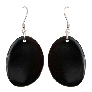 Tagua earrings Black Chips Handmade
