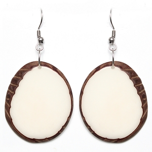 Tagua earrings Ivory White Chips Handmade