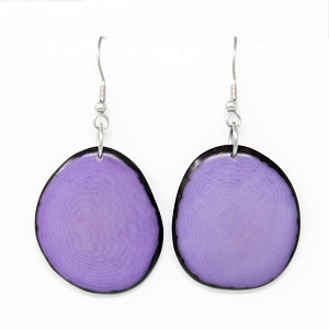 Tagua earrings Lilac Chips Handmade