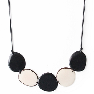 Chips Tagua Necklace in Black and Ivory, Handmade, Adjustable