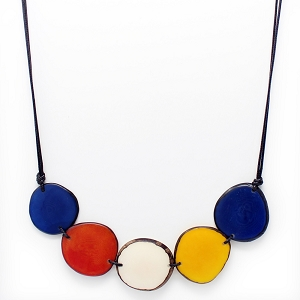Chips Tagua Necklace Multicolor, Handmade, Adjustable