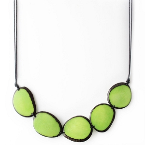 Chips Tagua Necklace in Green Handmade, Adjustable