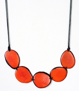 Chips Tagua Necklace in Orange, Handmade, Adjustable