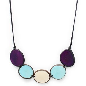 Chips Tagua Necklace in Purple, Turquoise and White, Handmade, Adjustable