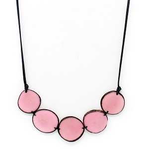 Chips Tagua Necklace in Pink, Handmade, Adjustable