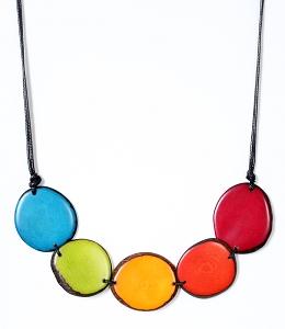 Chips Tagua Necklace in Rainbow, Handmade, Adjustable