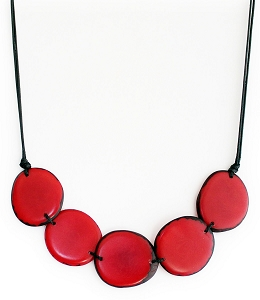 Chips Tagua Necklace in Red Handmade, Adjustable