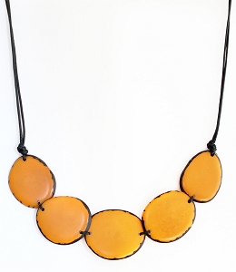 Chips Tagua Necklace in Yellow, Handmade, Adjustable