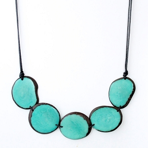 Chips Tagua Necklace in Aquamarine, Handmade, Adjustable