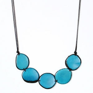 Chips Tagua Necklace in Blue, Handmade, Adjustable