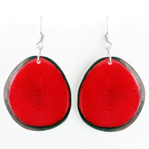 Chips Tagua earrings in Red